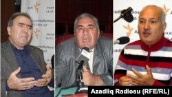 Кандидаты в президенты (слева направо) Джамиль Гасанлы, Хафиз Гаджиев, Сардар Джалалоглу
