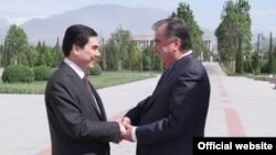 Täjigistanyň we Türkmenistanyň prezidentleri E.Rahmon we G.Berdimuhamedow, Duşenbe, 5-nji maý, 2014.