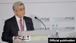 Հայաստանի նախագահ Սերժ Սարգսյանը ելույթ է ունենում Մյունխենի անվտանգության համաժողովում, 17-ը փետրվարի, 2018թ.