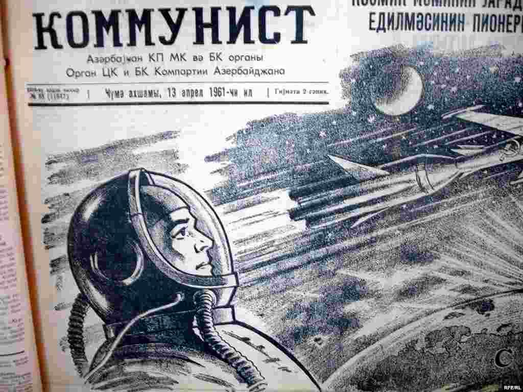 Azerbaijan – Local newspapers about Yuri Gagarin's flight into space, 1961