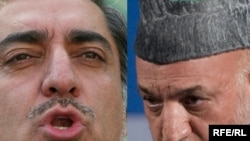 Afghan President Hamid Karzai (right) and his runoff challenger, former Foreign Minister Abdullah Abdullah