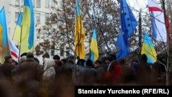 Активисты Евромайдана в Симферополе, декабрь 2013 года