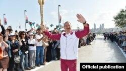 Prezident İlham Əliyev Dənizkənarı Milli Parkda Avropa Oyunlarının məşəlini qəbul edir- 7 iyun 2015