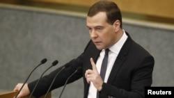 Ռուսաստանի վարչապետ Դմիտրի Մեդվեդևը ելույթի ժամանակ, արխիվ