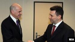 Нова фотографија, стари позиции - премиерите на Македонија и Грција Груевски и Папандреу