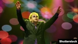 Elton John performing in Kyiv in June 2012 to raise awareness for Ukraine's AIDS epidemic.