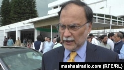 Pakistan opposition figure Ahsan Iqbal is accused of corruption in relation to a sports-complex project. (file photo)