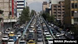 A general view of traffic, following the outbreak of the coronavirus disease (COVID-19), after shopping malls and bazaars reopened in Tehran, April 20, 2020