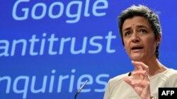 Єврокомісар із питань конкуренції Марґрете Вестаґер виступає у Брюсселі, 15 квітня 2015 року