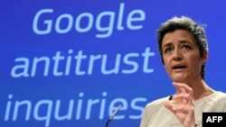 Еуропа комиссиясының бәсекелестік жөніндегі комиссары Маргрет Вестагер Google компаниясына қарсы талап-арыз туралы мәлімдеп тұр. Брюссель, 15 сәуір 2015 жыл.