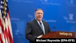 US. Secretary of State Mike Pompeo delivers remarks on 'After the Deal - A New Iran Strategy', at the Heritage Foundation in Washington, May 21, 2018