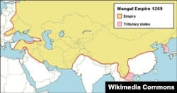 Границы Монгольской империи в 1259 году - в период наивысшего могущества и расцвета