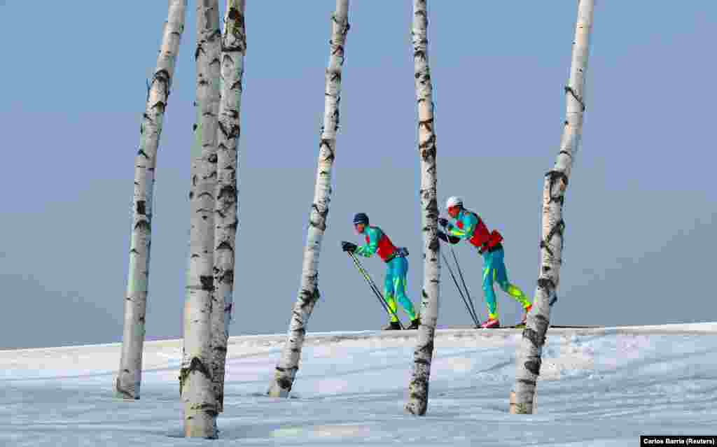 Cross-Country Skiing: Athletes from team Kazakhstan train, Pyeongchang, February 23, 2018.