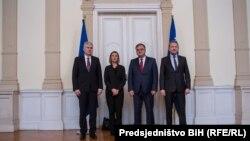 Federica Mogherini sa članovima Predsjedništva BiH Draganom Čovićem, Mladenom Ivanićem i Bakirom Izetbegovićem, Sarajevo