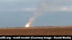 Взрыв на газопроводе в Джизакской области. Фото отправлено читателем нашего веб-сайта.
