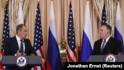 Майкл Помпео и Сергей Лавров во время пресс-конференции в Госдепартаменте, 10 декабря 2019 года