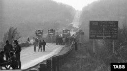 În apropierea podului peste râul Nistru, spre Dubăsari, 4 noiembrie 1990