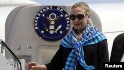 U.S. Secretary of State Hillary Clinton arrives in Singapore.