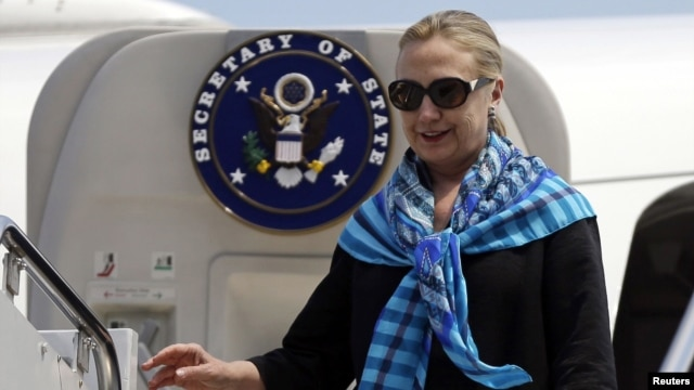 U.S. Secretary of State Hillary Clinton arrives in Singapore.