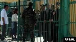 The gate of a prison in northern Chechnya (file photo)
