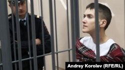 Ukrainian military pilot Nadia Savchenko attends a court hearing in Moscow on March 26.