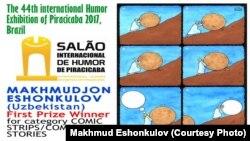 Маҳмуджон Эшонқуловнинг Piracicaba кўрмазмасида ғолиб деб топилган карикатураси.