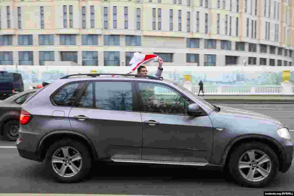 Кіроўцы падтрымлівалі ўдзельнікаў пратэсту.
