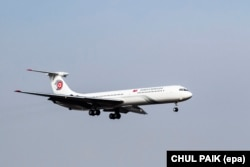The Soviet-made Ilyushin IL-62 used by Kim Jong Un arriving (without Kim inside) to South Korea in 2015.