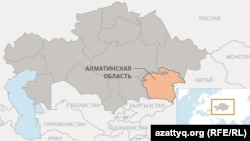 Алматинская область на карте Казахстана.