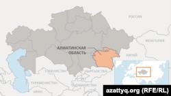 Алматинская область на карте Казахстана