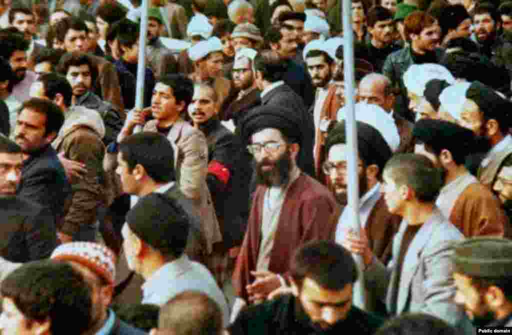 Ali Khamenei (center right), now the supreme leader of Iran, protests in Mashhad during Iran's 1979 Islamic Revolution.