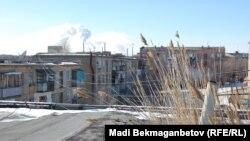 Балқаш қаласының көрінісі. Қарағанды облысы, 10 ақпан 2013 жыл.