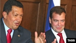 Venezuelan President Hugo Chavez (left) and Russian President Dmitry Medvedev in Moscow in July