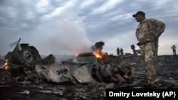 На месте падения обломков самолёта близ села Грабовое, 17 июля 2014 года.