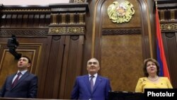 Armenia - Speaker Galust Sahakian (C) and his two deputies open the autumn session of the National Assembly, Yerevan, 15Sep2015.