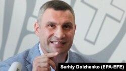 Kyiv Mayor Vitaliy Klitschko speaks to the press on July 26.