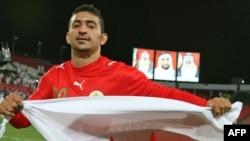 علا هُبیل، از تیم ملی فوتبال بحرین پس از پیروزی ۲ بر یک علیه تیم قطر، در چارچوب هجدهمین جام قهرمانی خلیج فارس.