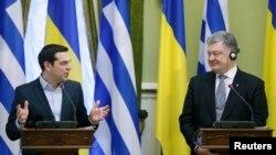 Петро Порошенко і Алексіс Ципрас на переговорах у Києві, 9 лютого 2017 року