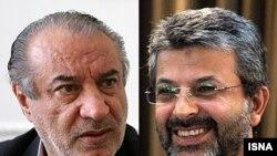 کامران دانشجو (راست) و حمید بهبهانی دو تن از وزرای احمدی نژاد که به سرقت علمی متهم شده اند.