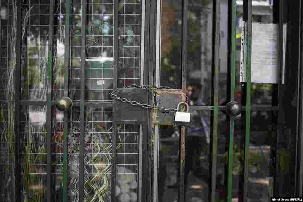 Several shops in Yerevan locked their doors during the May 2 general strike.
