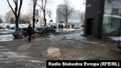 Macedonia - Melting snow reveals damaged streets - Skopje 24-2-2012