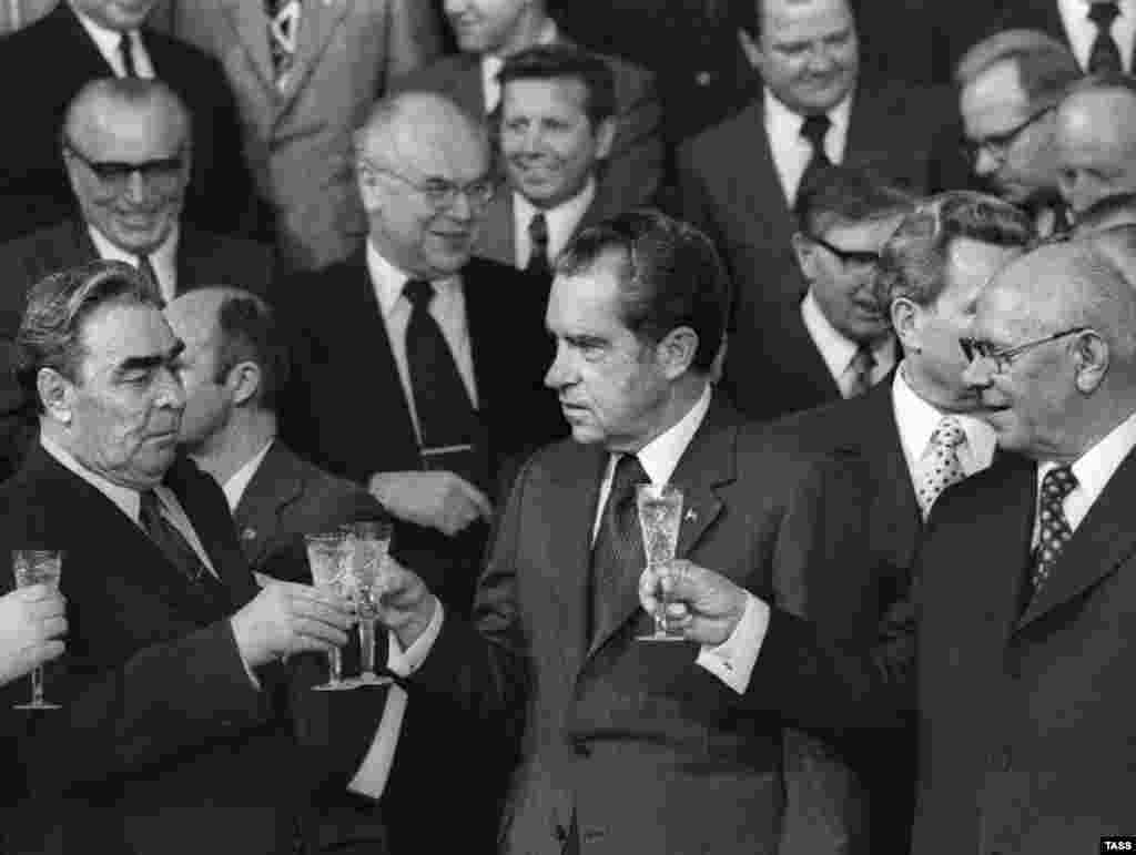 Russia - Soviet leader Leonid Brezhnev, U.S President Richard Nixon and the president of the presidium of the USSR Supreme Soviet Nikolai Podgorny after the signing of Soviet-U.D. agreements, Moscow 28Jun1974 - rob2007