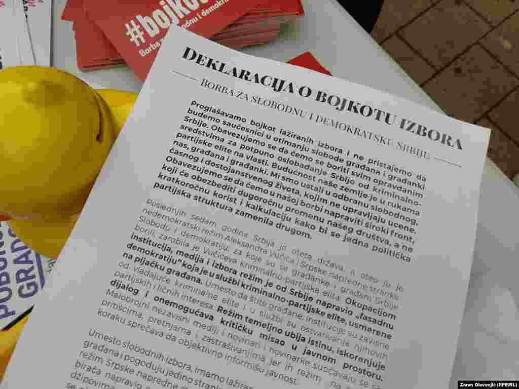 Deklaracija o bojkotu predstojećih parlamentarnih izbora.