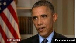 АҚШ президенті Барак Обама CBS телеарнасына сұхбат беріп отыр. 9 қараша 2014 жыл.