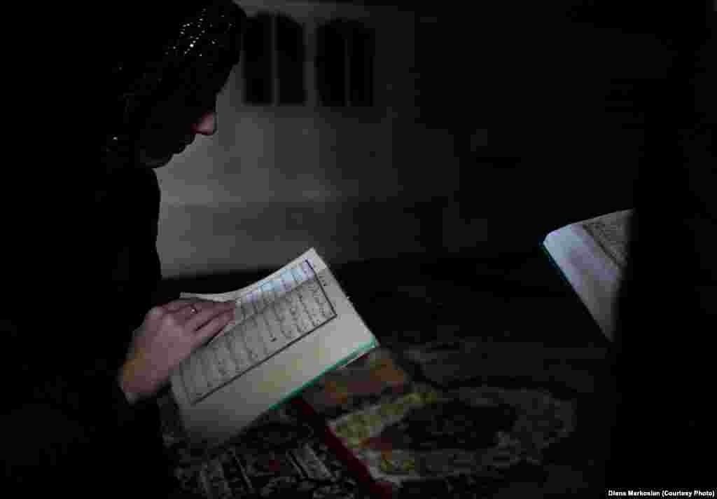 Chechen teens study the Koran at an underground madrasah. Markosian writes that Chechen youth have been quick to embrace Islam after decades of religious repression in the Soviet Union.