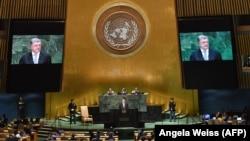 БҰҰ Бас Ассамблеясында Қырымдағы адам құқығы жағдайына байланысты резолюция жобасы қаралып жатқан сәт. Нью-Йорк, 26 қыркүйек 2018 жыл.
