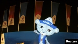 """Irby,"" named after the Irbis snow leopard, is the official mascot of the seventh Asian Winter Games."