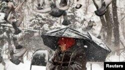 Голуби рядом с женщиной, просящей подаяние в Алматы. 7 декабря 2014 года.