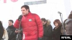 Константин Янкаускас на митинге оппозиции