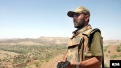 Pakistani soldier patrolling in South Waziristan